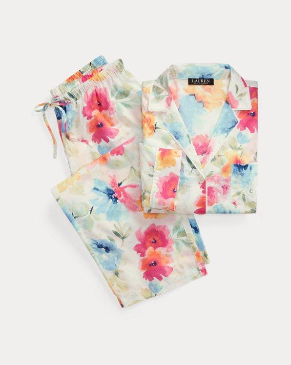Pyjama capri fleuri en coton