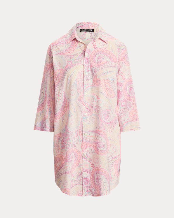 Chemise de nuit en coton motif cachemire