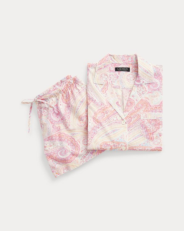 Ensemble pyjama short motif cachemire
