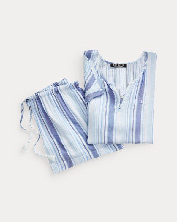 Gestreiftes Pyjama-Set mit Shorts