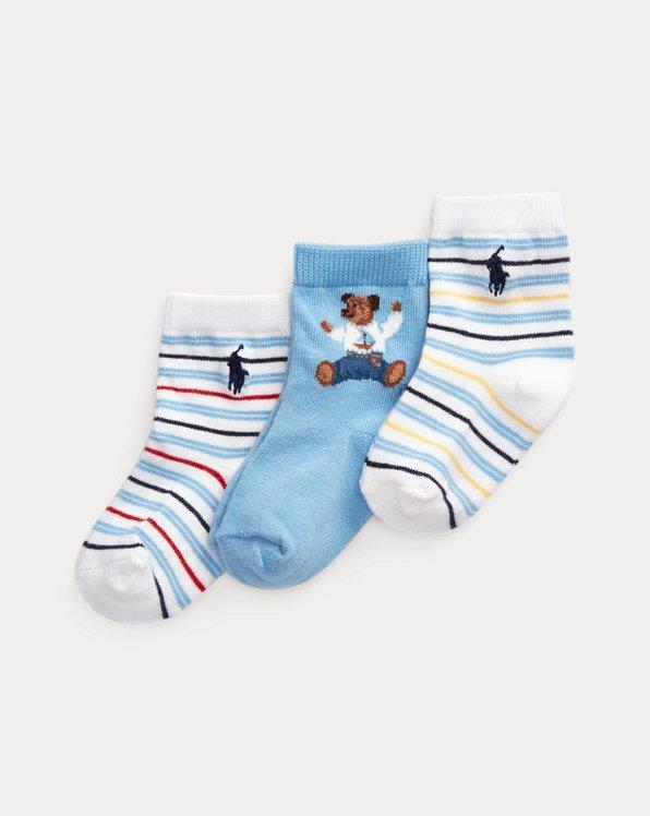 3er-Pack Crew-Socken mit Bär