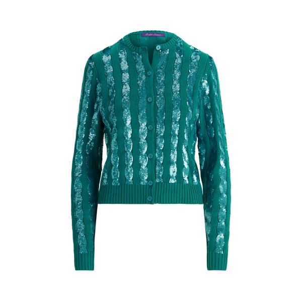 Ralph Lauren Sequined Silk Cardigan Sweater In Green