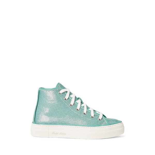 Ralph Lauren Raina Embellished Sneaker In Blue