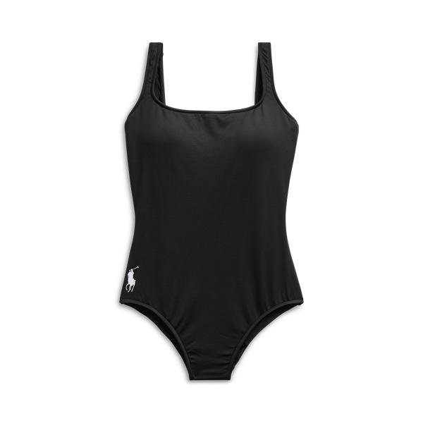 Ralph Lauren Scoopback One-piece Swimsuit In Black