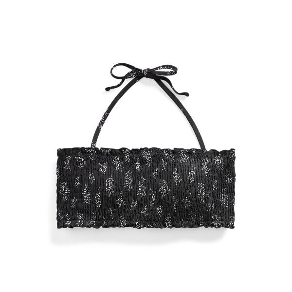 Ralph Lauren Floral Smocked Bikini Top In Black