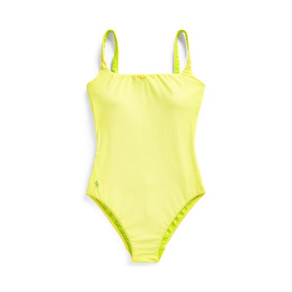 Ralph Lauren Scoopback One-piece Swimsuit In Yellow