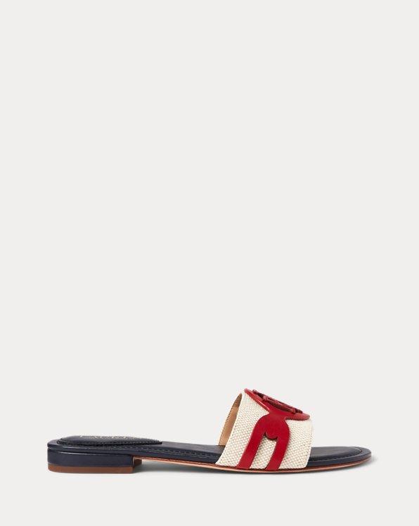 Alegra Canvas-Leather Slide Sandal