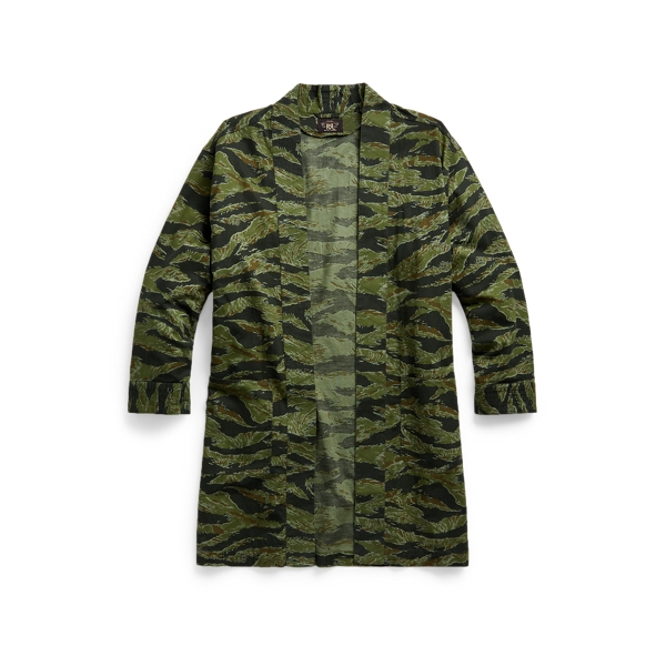 Double Rl Camo Cotton-linen Open-front Top In Rl-427 Olive/black