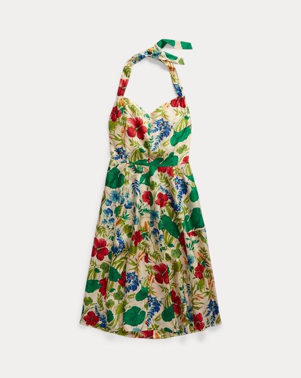 Floral Silk Halter Dress