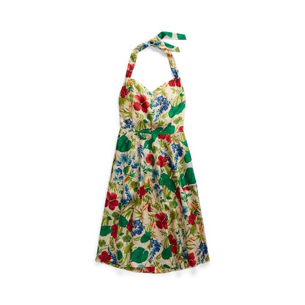 Double Rl Floral Silk Halter Dress In Multi