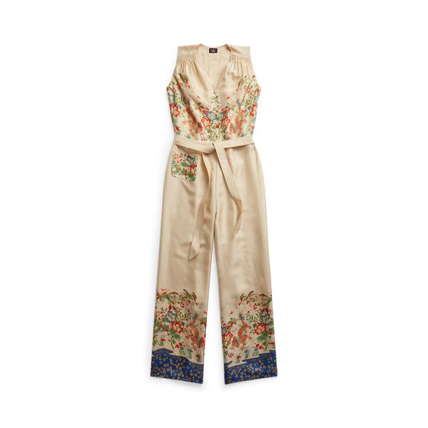 Double Rl Floral Silk Jumpsuit In Neutrals