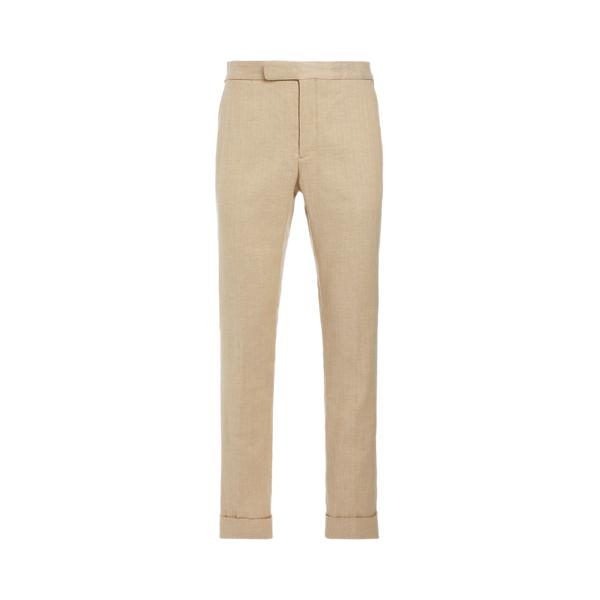 Ralph Lauren Polo Stretch Herringbone Suit Trouser In Tan/cream