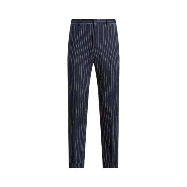 Ralph Lauren Polo Striped Linen-wool Trouser In Navy / Cream