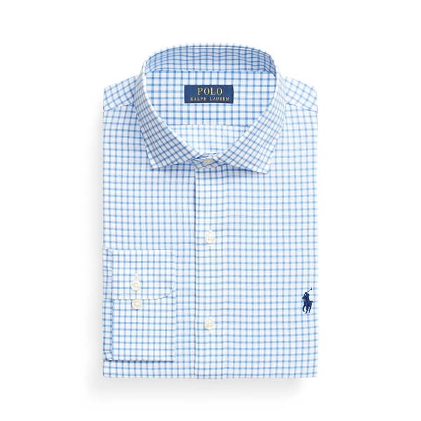 Ralph Lauren Slim Fit Checked Poplin Shirt In Blue