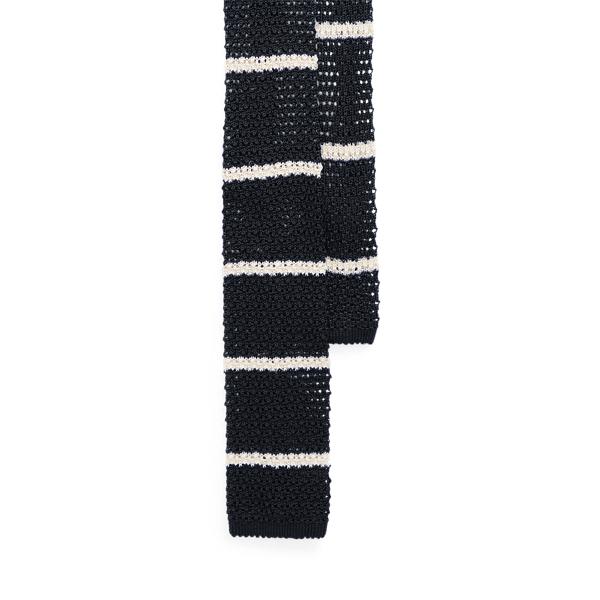 Ralph Lauren Striped Knit Silk Tie In Black