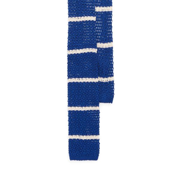 Ralph Lauren Striped Knit Silk Tie In Blue