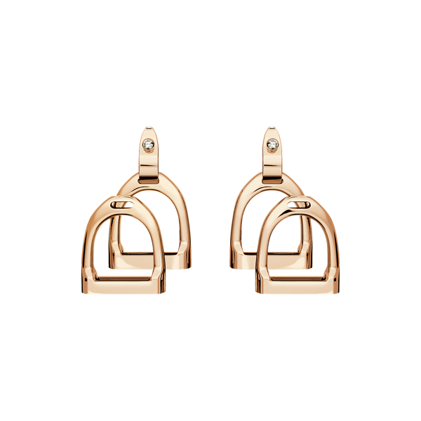 Rose Gold Double-Stirrup Earrings