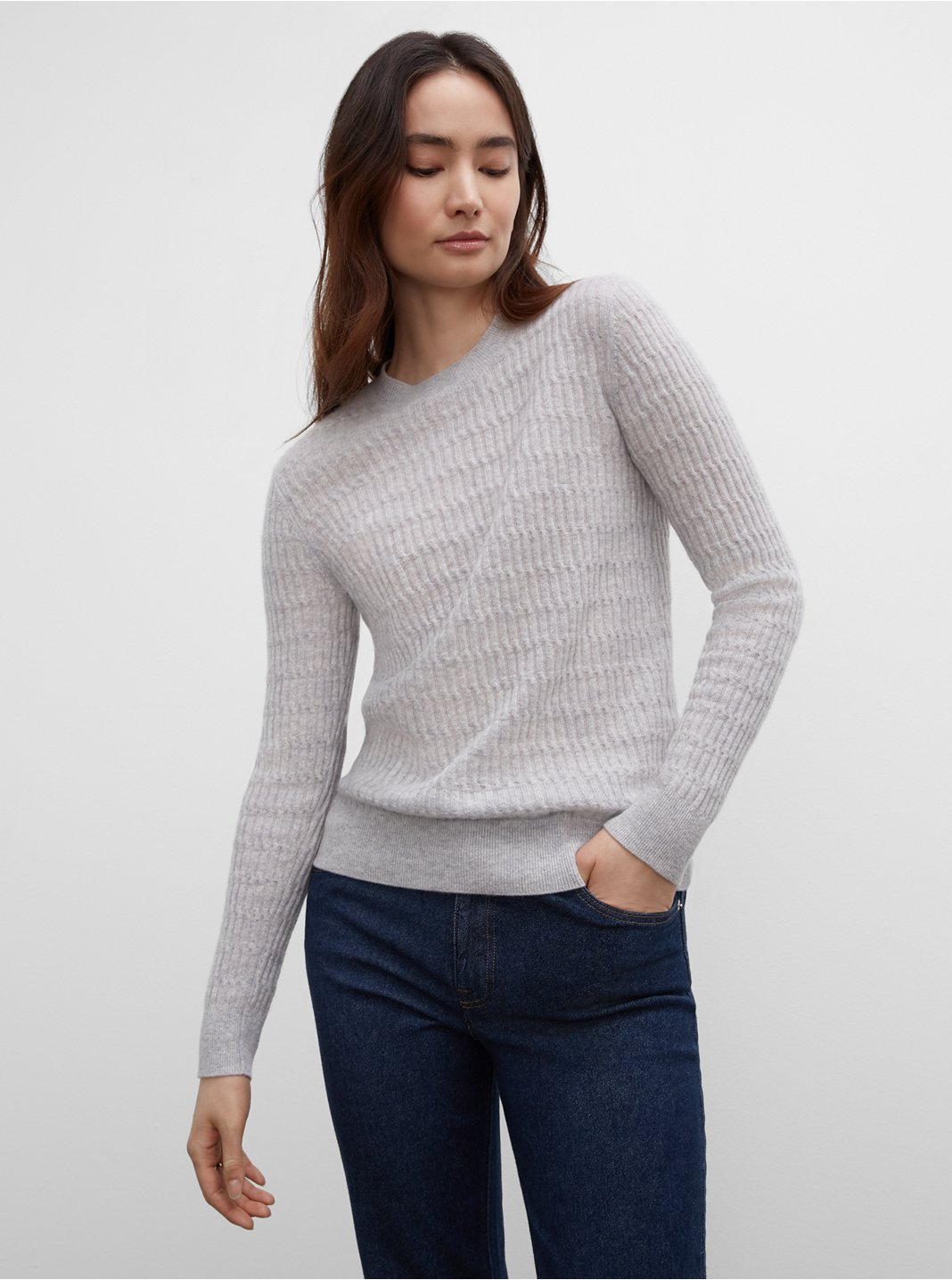 Long Sleeve Stitch Cashmere Sweater