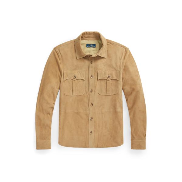 Ralph Lauren Suede Safari Jacket In Vintage Khaki
