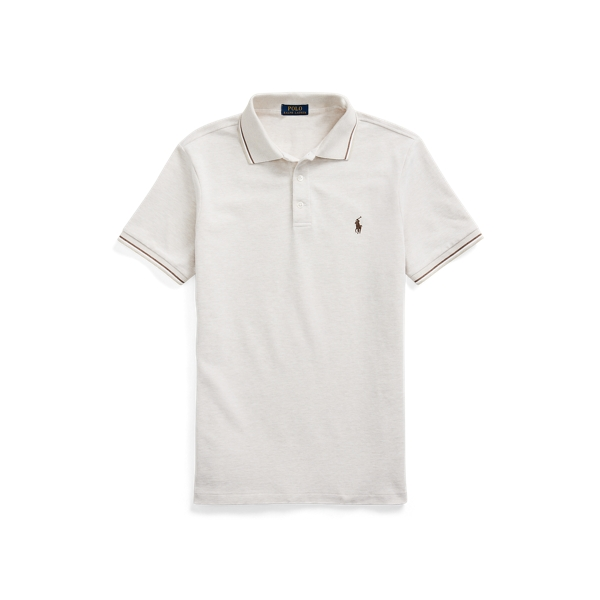 Ralph Lauren Custom Slim Stretch Birdseye Polo Shirt In Neutrals