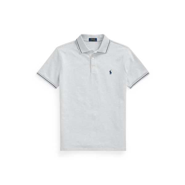 Ralph Lauren Custom Slim Stretch Birdseye Polo Shirt In Gray