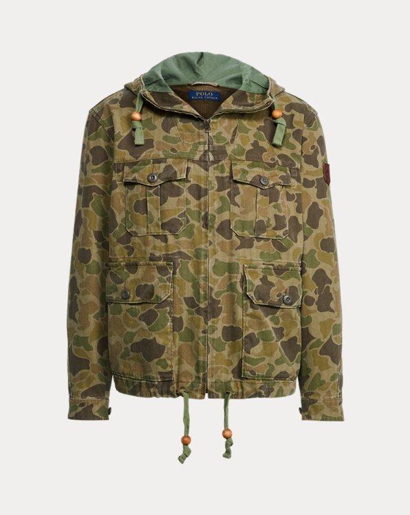 Camouflage-Twilljacke mit Kapuze