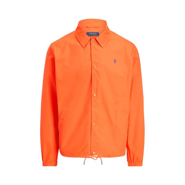 Ralph Lauren Poplin Coach Jacket In Spectrum Orange