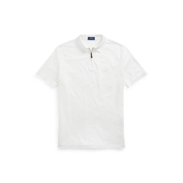 Ralph Lauren Custom Slim Fit Stretch Mesh Polo Shirt In White/c1730