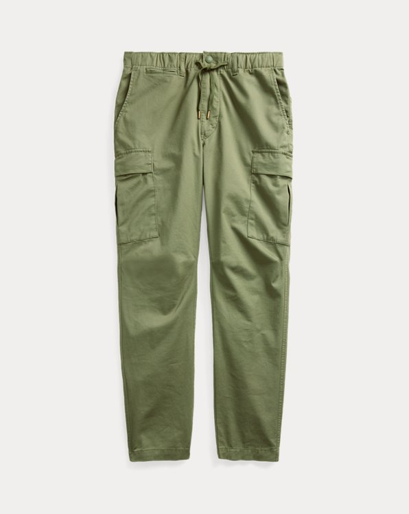 Pantalon cargo en sergé slim stretch