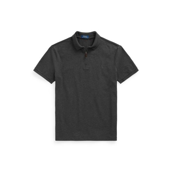 Ralph Lauren Custom Slim Fit Stretch Mesh Polo Shirt In Dark Grey Heather