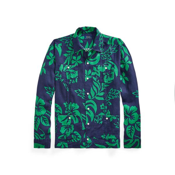 Ralph Lauren Custom Fit Floral Linen Shirt In Makai Flower