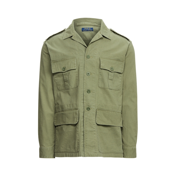 Ralph Lauren Classic Fit Dobby Utility Shirt In Soldier Olive