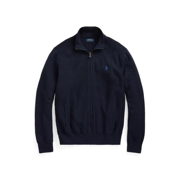 Ralph Lauren Cotton Mesh Full-zip Sweater In Blue