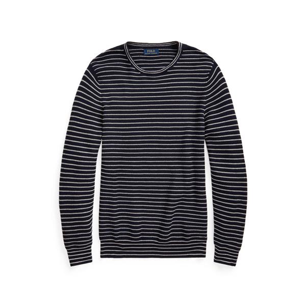 Ralph Lauren Striped Cotton Crewneck Sweater In Blue