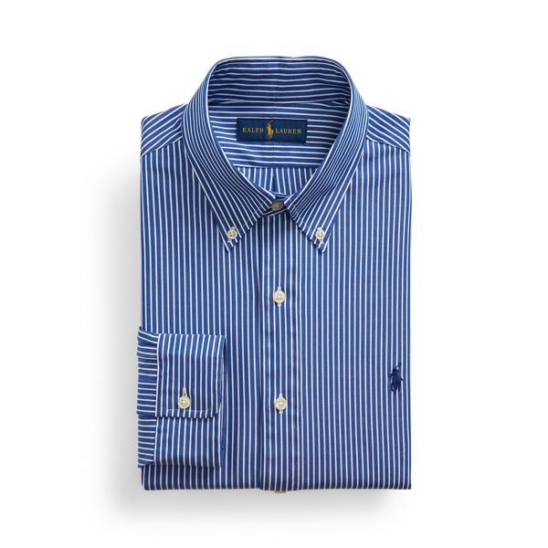 Ralph Lauren Classic Fit Striped Stretch Poplin Shirt In Blue/white