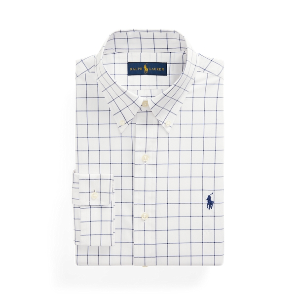 Ralph Lauren Classic Fit Checked Stretch Poplin Shirt In White