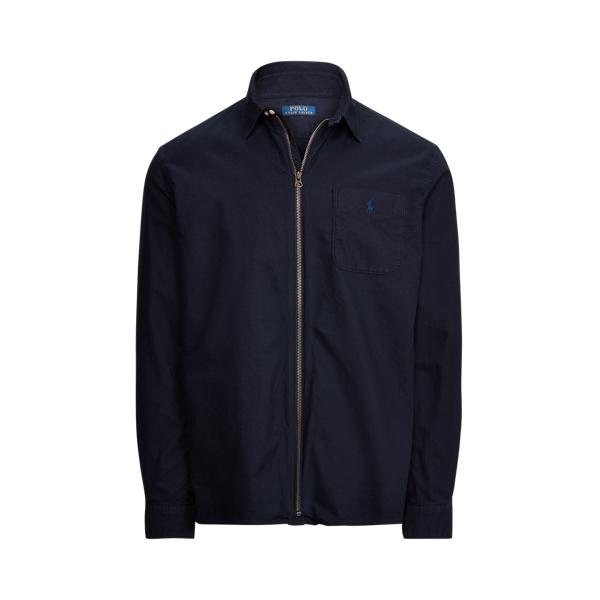 Ralph Lauren Classic Fit Oxford Full-zip Shirt In Blue