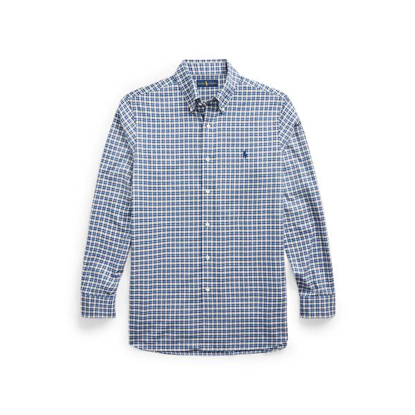 Ralph Lauren Classic Fit Plaid Twill Shirt In Navy/tan Multi