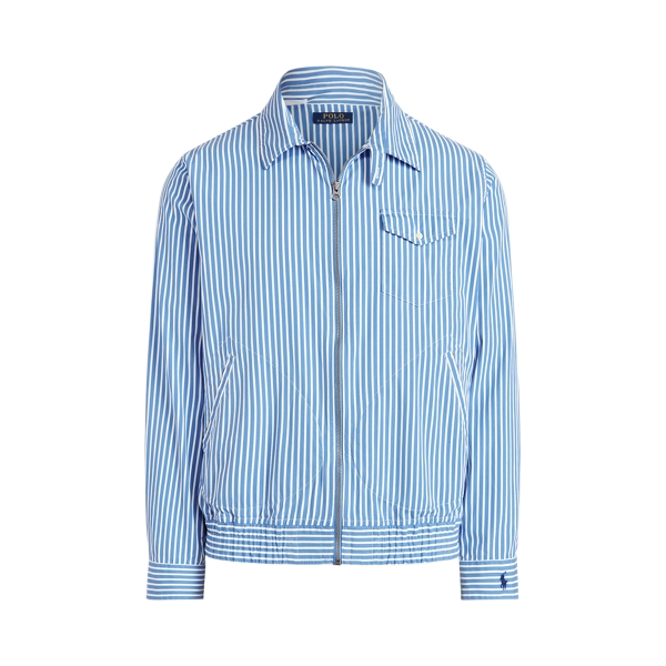 Ralph Lauren Striped Overshirt In Blue/white