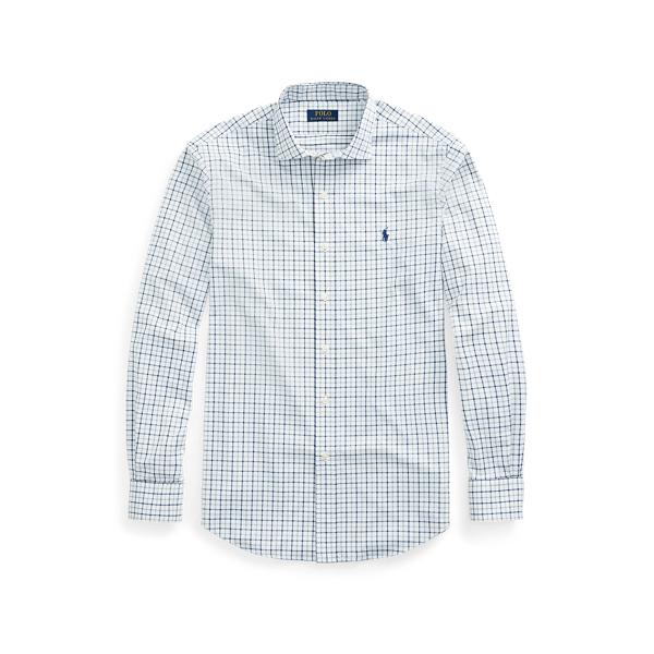 Ralph Lauren Classic Fit Tattersall Performance Shirt In Grey/navy Multi