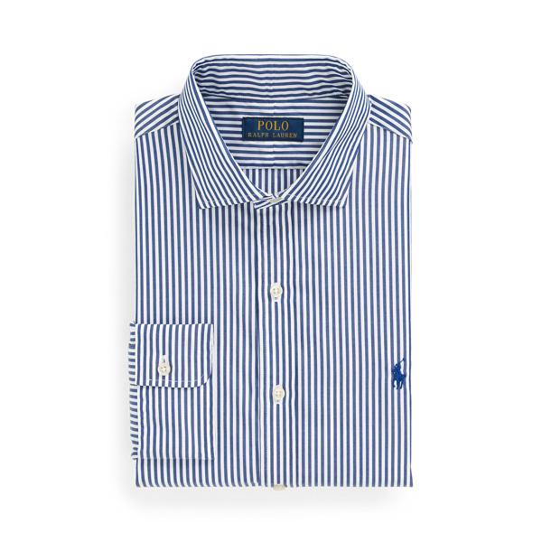Ralph Lauren Classic Fit Striped Poplin Shirt In Blue