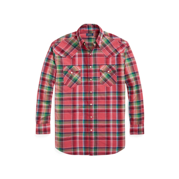 Polo Ralph Lauren Madras Western Shirt In Pink/blue