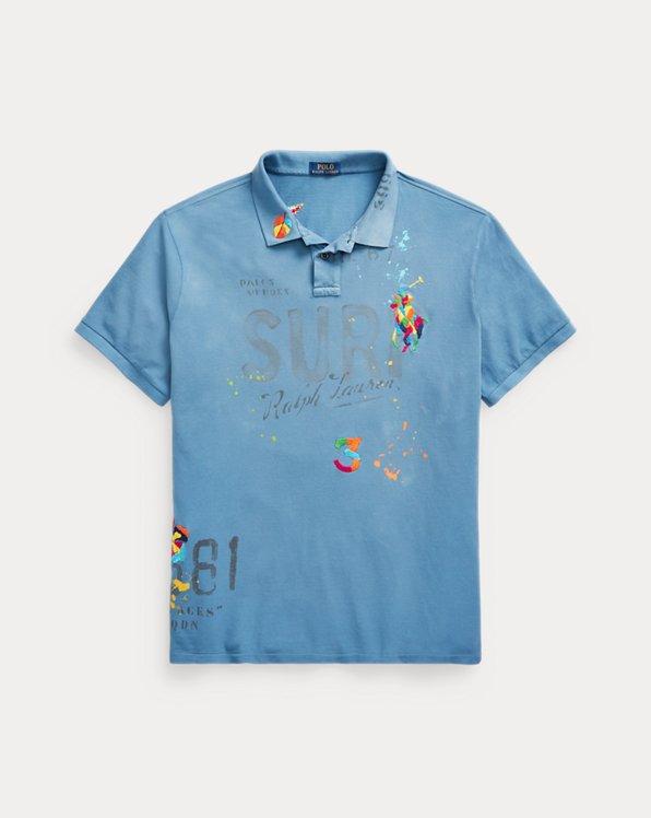 Tropical-Embroidered Mesh Polo Shirt