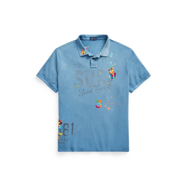Polo Ralph Lauren Tropical-embroidered Mesh Polo Shirt In Blue