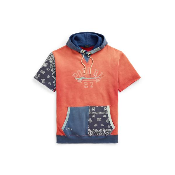 Polo Ralph Lauren Logo Patchwork Fleece Hoodie In Chili Pepper/dark Cobalt