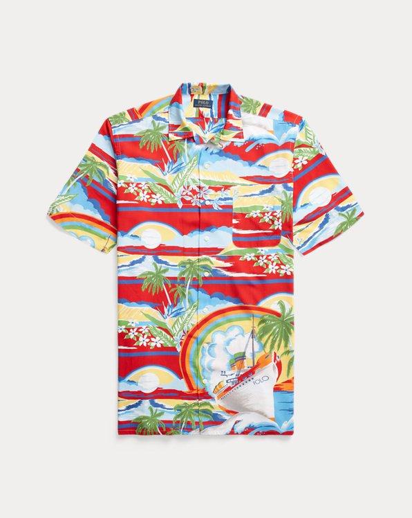 Freizeit-Kurzarmhemd mit Tropendruck