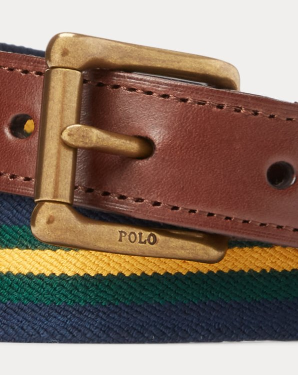 Leather-Trim Striped Belt