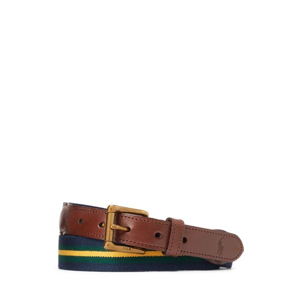 Ralph Lauren Leather-trim Striped Belt In Brown