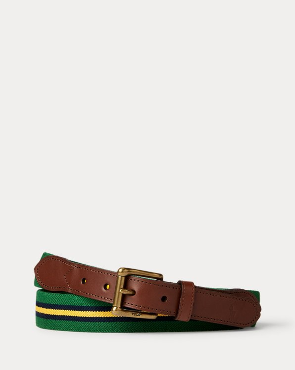 Leather-Trim Stretch Belt