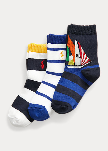 Polo Ralph Lauren Sailboat Crew Sock 3 Pack